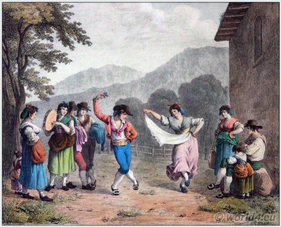 Tarantella dancers. Italia. Southern Italian folk dance. Italy traditional national costume.Folk dress