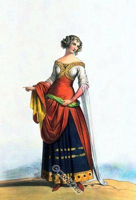 French Noblewoman. 14th century clothing. Middle ages costumes. gothic dress. Burgundy fashion era.