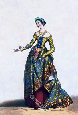 Charles VII. Burgundian fashion. Medieval clothing. French costume idea. Mid-century dress