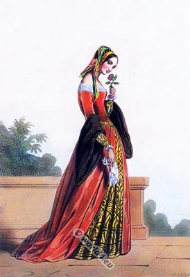 16th century costume. Medieval clothing. Renaissance fashion. Medieval court dress
