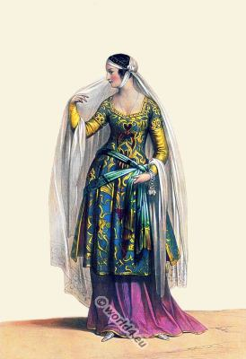 Florentine lady 13th century clothing. Medieval fashion in Italy. Gothic costumes.