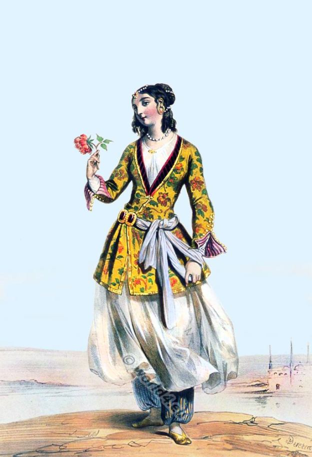 19th century Persian costume. Medieval Persia Clothing. Female persian dress.