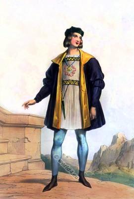 English gentleman, costume history, fashion history, Burgundian, clothing. England, Medieval