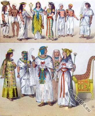 Ancient Egypt costumes. Princess, Pharaoh, King, Fanbearer.