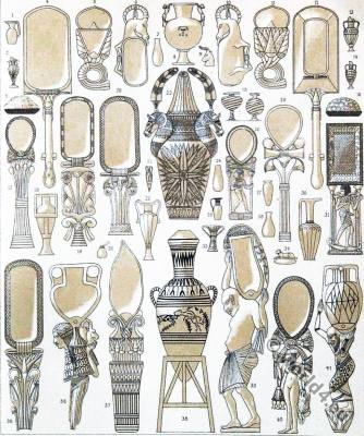 Ancient Egypt domestic utensils. Egyptian mirrors, make-up vessels, zermonial objects