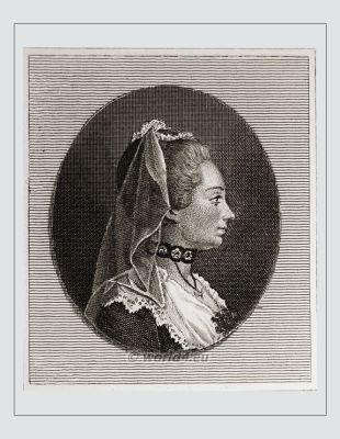 French Salonnière. Jeanne Julie de Lespinasse. Rococo fashion era.