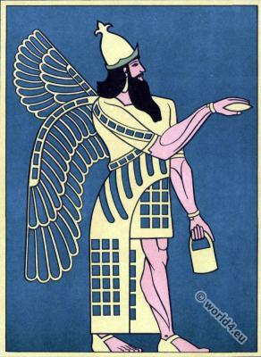 Ancient Assyrian sculpture. Chorsabad Warrior, King.