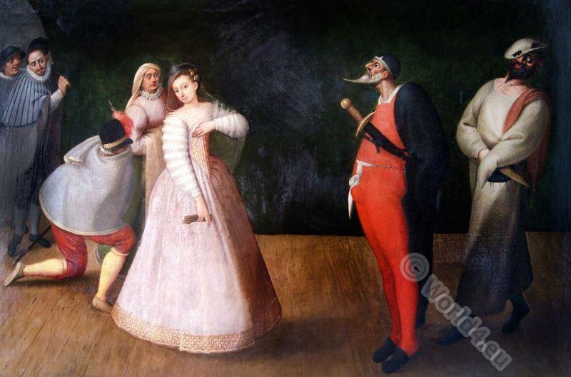 Commedia dell'Arte. Isabella Andreini . Compagnia dei Comici Gelosi.