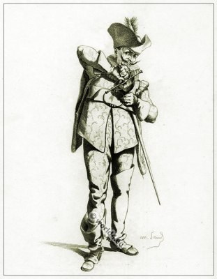 Commedia dell'arte Theater Costume Capitan Spezzafer, Masques et bouffons, Actors of the comédie italienne.