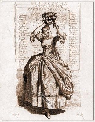 Commedia dell'arte Theater Costume la Comédie, Masques et bouffons, Actors of the comédie italienne.
