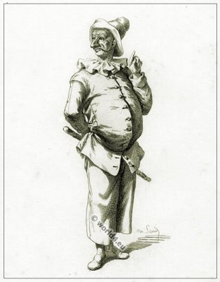 Commedia dell'arte Theater Costume Pulcinello, Masques et bouffons, Actors of the comédie italienne. Carnival mask