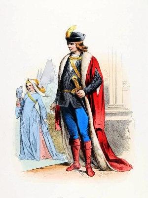 French Baron, Baroness costume. Renaissance clothing. Feudalism, Medieval fashion.