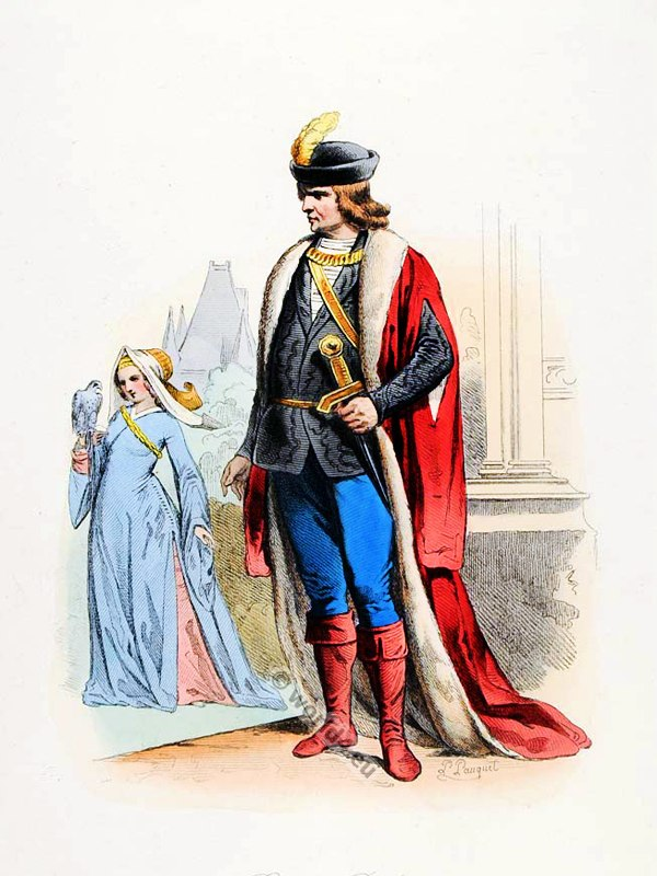 French Baron and Baroness costume. Renaissance clothing. Feudalism and Medieval Life fashion.