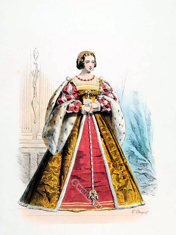 Eleanor of Austria. Eleanor of Castile, was born an Archduchess of Austria and Infanta of Castile. Ancien Régime fashion. French Renaissance clothing. France medieval costume