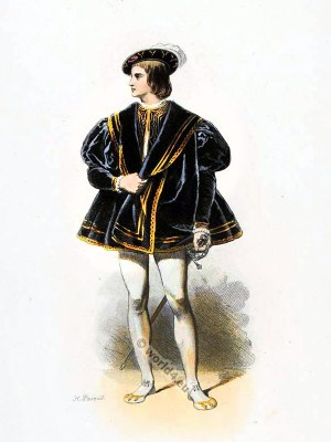 Francis III of Brittany, Duke of Brittany and Dauphin of Viennois. Ancien Régime fashion. French Renaissance clothing. France medieval costume