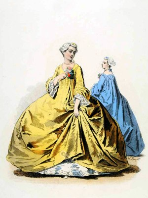 farthingale, Costumes De Cour. Baroque fashion. 18th century costumes. Fashion history. Costume design.