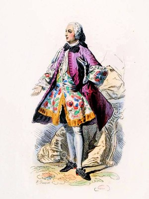 Paris Fashion Nobleman Rococo costume. France 18th century clothing. Louis XV Ancien Régime fashion. Court Dress in Versailles