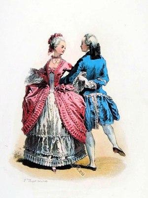 Modes Parisiennes. Pas de rigaudon. Marquis, Marquise. Rococo fashion. Court dress in Versailles.