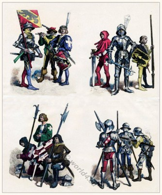 Swiss military costumes in XV Century. Medieval Clothing. Middle Ages soldiers.