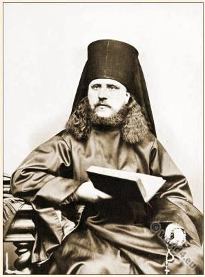Traditional Eastern Orthodox Vestment. Greek Monk cloth, Priest costume. Beard fashion.