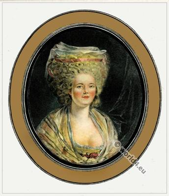 Marie Antoinette. Hat styles. French Rococo Fashion. Fashion designer Rose Bertin. Minister of Fashion at the Court of Versailles