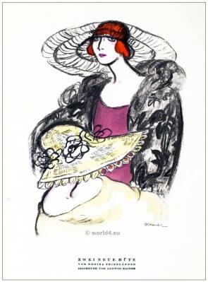 German Fashion designer Regina Friedender. German Art deco costumes 1920s. Roaring twenties fashion. Gibson Girls clothing. STYL Fashion Magazine.