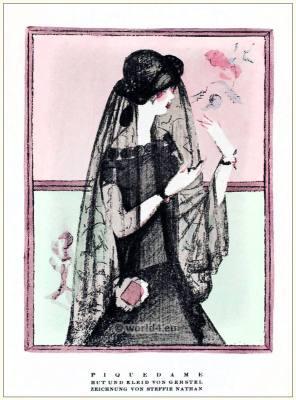 Johanna Gerstel. Steffie Nathan. Queen of Spades. STYL Art Déco Fashion Magazine. German Art deco costumes 1920s. Roaring twenties fashion. Gibson Girls clothing.