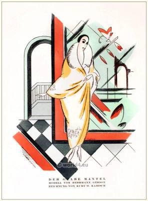Yellow coat. STYL Art Déco Fashion Magazine. 1920s Fashion and Style Clothing. Celebrity outfit inspiration. Flapper fringe dresses.