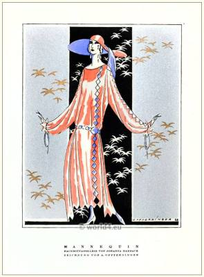 Afternoon dress by Johanna Marbach. STYL Art Déco Fashion Magazine. German Art deco costumes 1920s. Roaring twenties fashion. Gibson Girls clothing.