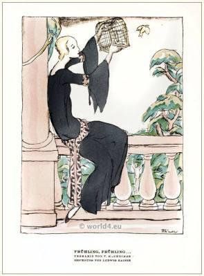 Tea gown by V. Mannheimer. STYL Art Déco Fashion Magazine. German Art deco costumes 1920s. Roaring twenties fashion. Gibson Girls clothing.