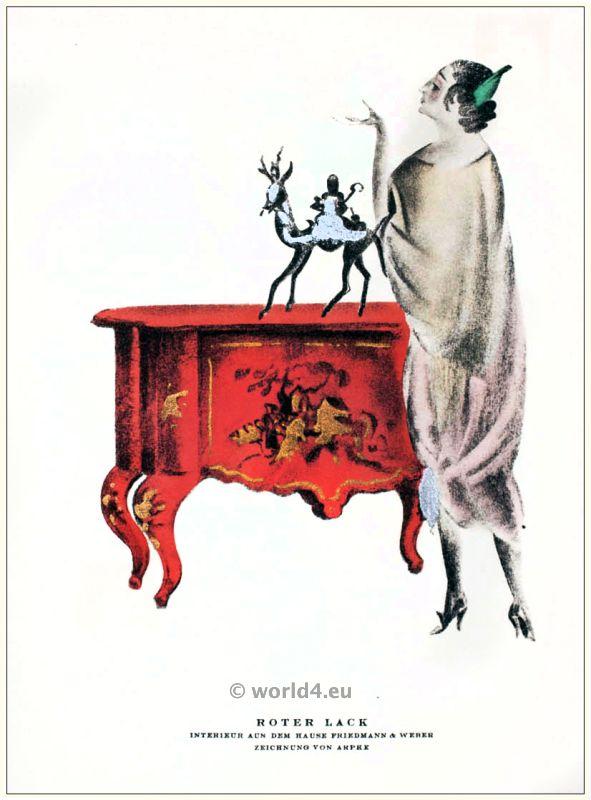 Interior. STYL, Art Déco Fashion Magazine. German Art deco costumes 1920s. Roaring twenties fashion. Gibson Girls clothing.