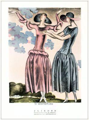 Style dresses by M. Gerstel. STYL, Art Déco Fashion Magazine. German Art deco costumes 1920s. Roaring twenties fashion. Gibson Girls clothing.