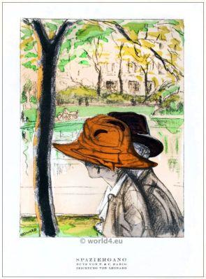 Hats of P. & C. Habich. STYL, Art Déco Fashion Magazine. German Art deco costumes 1920s. Roaring twenties fashion. Gibson Girls clothing.
