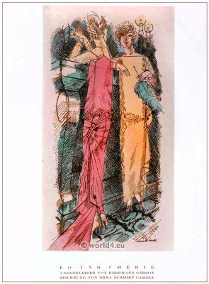 STYL, Art Déco, Fashion Magazine, Art deco costumes, 1920s. Roaring twenties fashion. Gibson Girls clothing.
