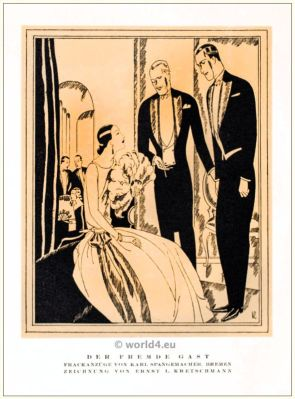 Tailcoat suits . STYL, Art Déco Fashion Magazine. German Art deco costumes 1920s. Roaring twenties fashion. Gibson Girls clothing.