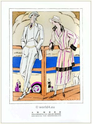 Beach costumes. STYL, Art Déco Fashion Magazine. German Art deco costumes 1920s. Roaring twenties fashion. Gibson Girls clothing.