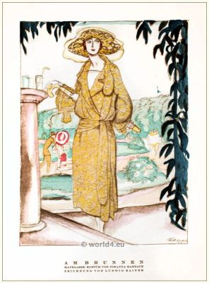 Matelassé costume by Johanna Marbach. STYL, Art Déco Fashion Magazine. German Art deco costumes 1920s. Roaring twenties fashion. Gibson Girls clothing.
