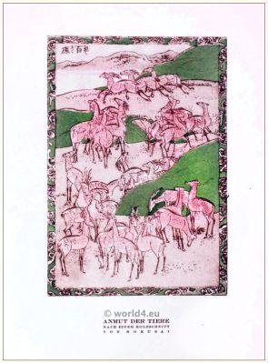Art deco woodcut after Hokusai. STYL, Art Déco Fashion Magazine.