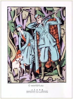 Sports Costumes. STYL, Art Déco Fashion Magazine. German Art deco costumes 1920s. Roaring twenties fashion. Gibson Girls clothing.