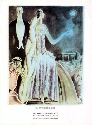 Style dress. STYL, Art Déco Fashion Magazine. German Art deco costumes 1920s. Roaring twenties fashion. Gibson Girls clothing.