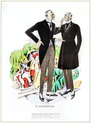 Suits of Fasskessel and Müntmann. STYL, Art Déco Fashion Magazine. German Art deco costumes 1920s. Roaring twenties fashion. Gibson Girls clothing.