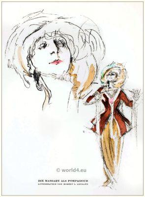 Art deco theater. Fritzi Massary as Mdm. Pompadour. STYL, Art Déco Fashion Magazine. Roaring twenties fashion. Gibson Girls clothing.