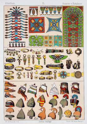 soldiers, warriors, ancient, ailitary, Assyria, Babylonia, helmet, ornaments