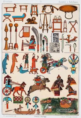 Babylon. Assyrian costume, weapons,furnitures. Babylonian, Assyrian clothing