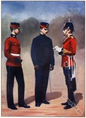 England Military Soldiers. English Boer war. Royal Lancasters. Uniform Captain, Adjutant, Lieutenant