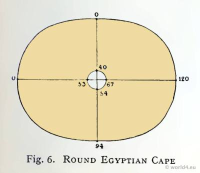 Ancient Egypt costumes. Cut of the Round Cap.
