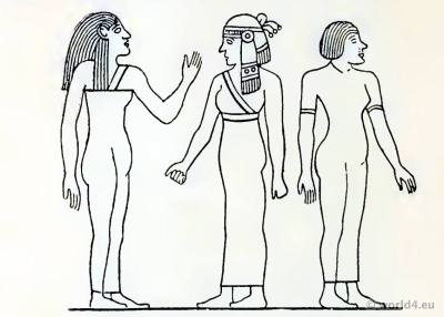 Ancient Egypt female costumes. Egyptian peoples clothing