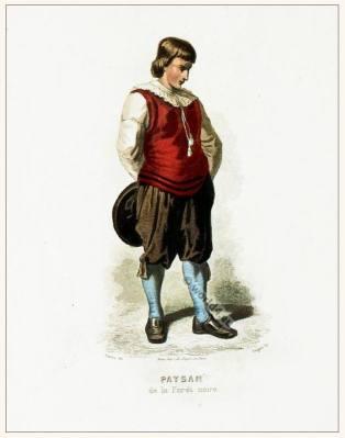 Peasant folk dress of the Black Forest. Traditional German national costume. Deutsche Trachten