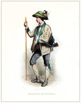 Kochel Bavaria Huntsman folk dress. Traditional German national costume. Deutsche Trachten.