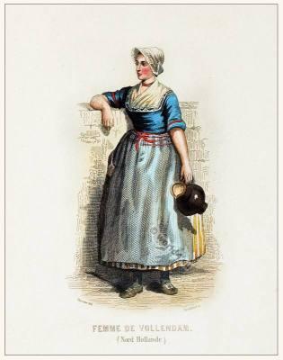 Holland Volledan Zuiderzée costume. Traditional Dutch national clothing. Netherlands folk dress